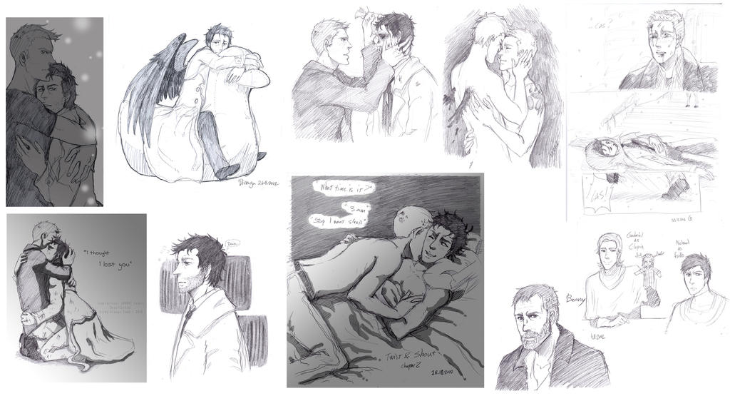 More of DeanCas sketches by EspadaDina