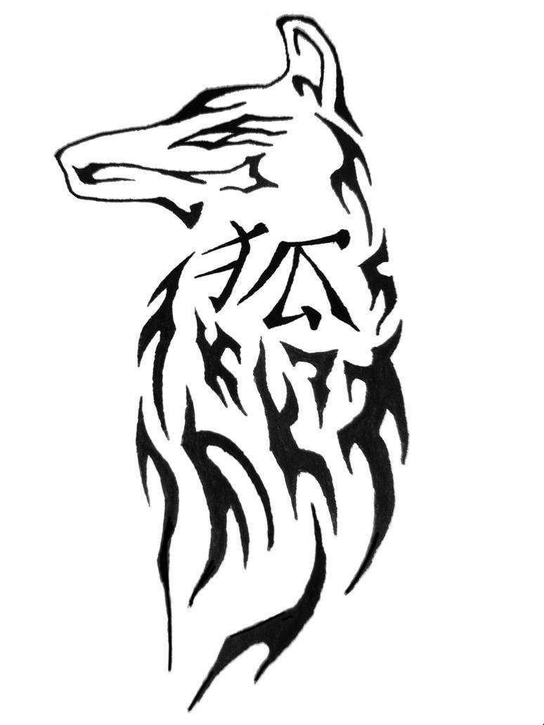 Chinese symbol tribal fox - chest tattoo