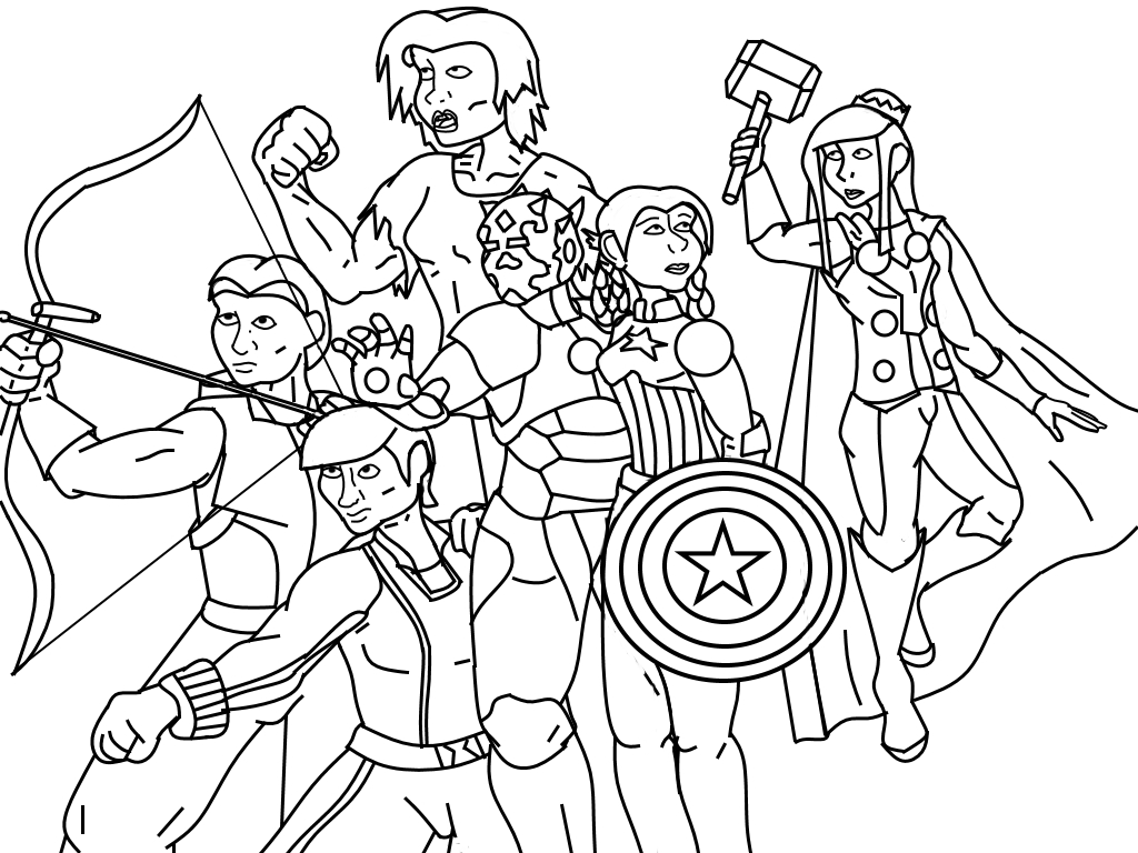 Avengers Group Coloring Pages : The avengers group coloring page pages