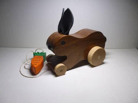 Hopping rabbit pull toy.