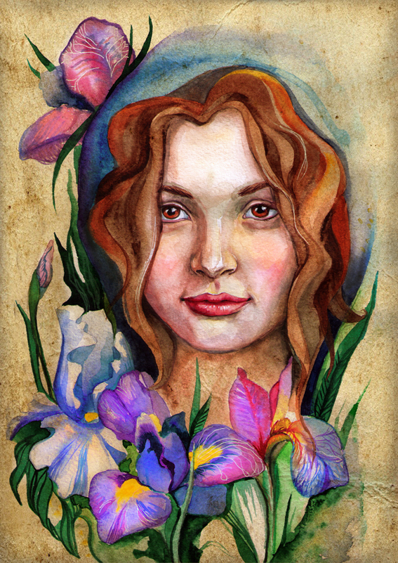 Lady and irises by chervona