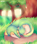 [ Draw this again ] Snivy takes a nap