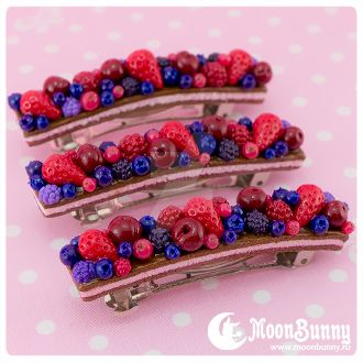 Dreamy berry cake Hair clip by CuteMoonbunny