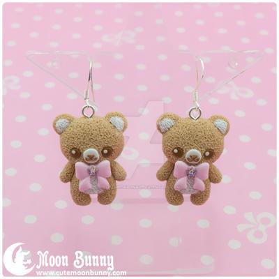 Pastel ice cream bears Earrings 4 by CuteMoonbunny