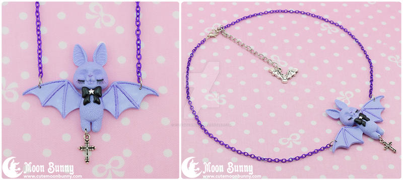 Cute bat Necklace by CuteMoonbunny
