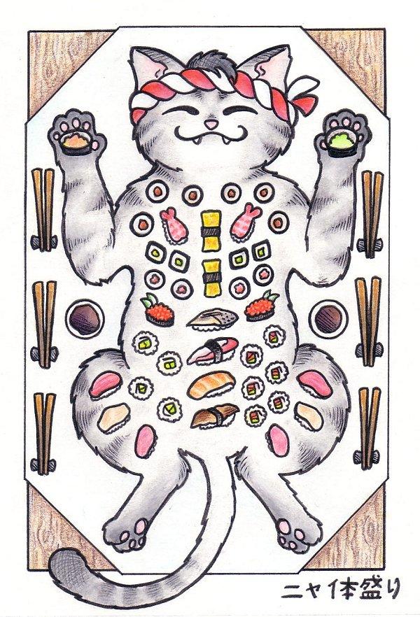 Nyataimori  Sushi on a Cat by crokittycats