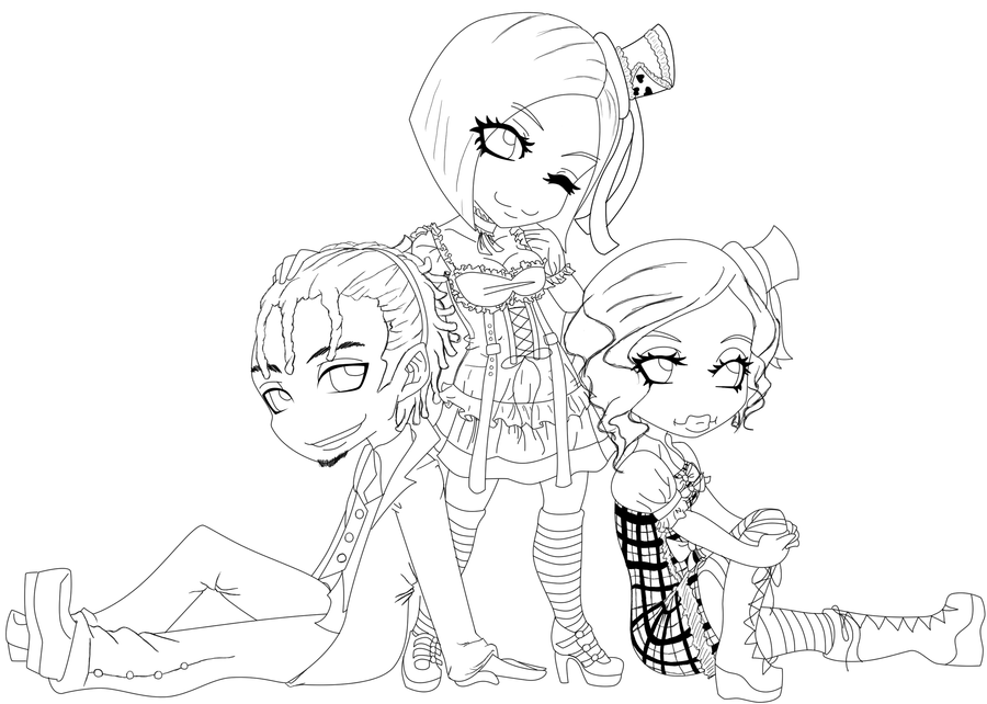 lineart chibi friends by defianceproduct on deviantart