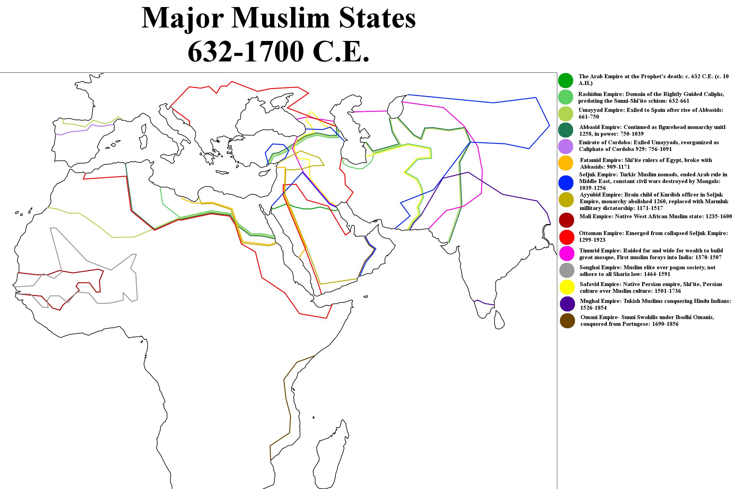 Major Muslim States 632-1700 C E  by AlexanderAbelard on DeviantArt