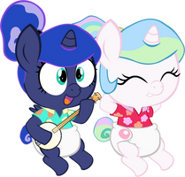 Baby Celestia And Baby Luna On Vacation by MEGARAINBOWDASH2000