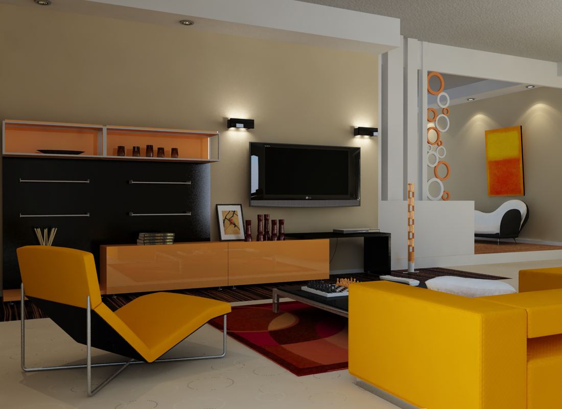 Retromodern orange living room by zigshot82 on deviantart