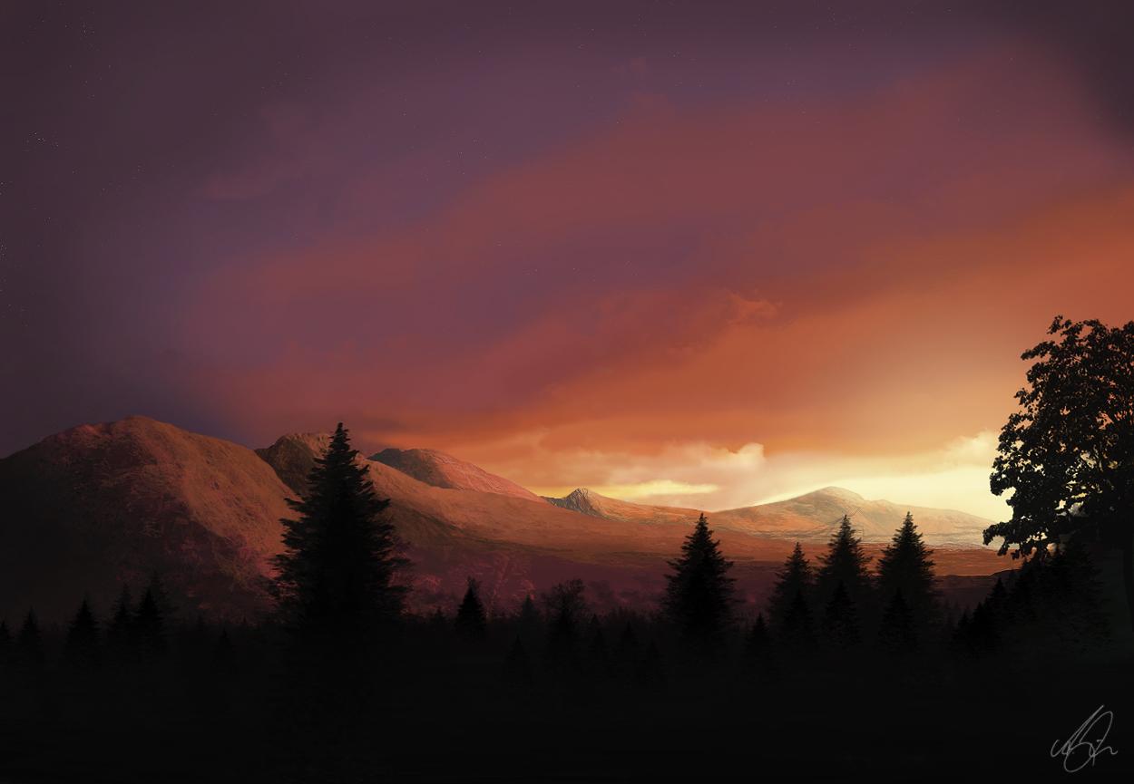 sunset after dark