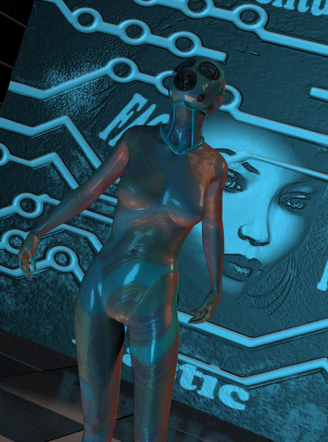 Blue plastic woman II by silverexpress