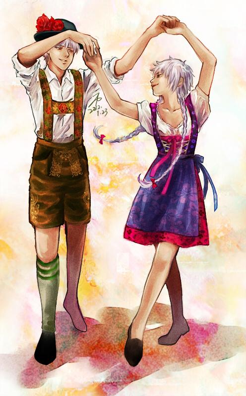 APH-Prussia and Fem!Prussia in Tradicional costume by alexzoe