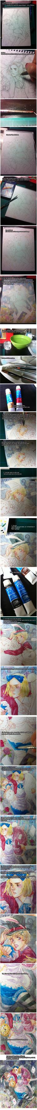 Hand drawn Manga-style watercolor Tutorial by alexzoe