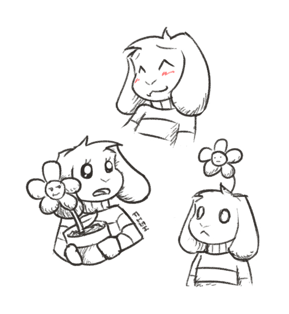 Asriel doodles by KillerfishSG