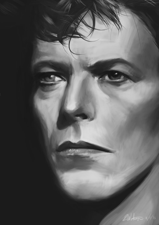 David Bowie Tribute Finished Bw by noodlepredator