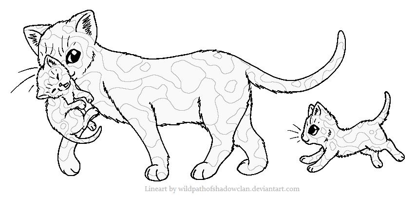 Cat Carrying Kitten Line