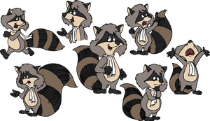 Ralph Raccoon classic poses by cheril59