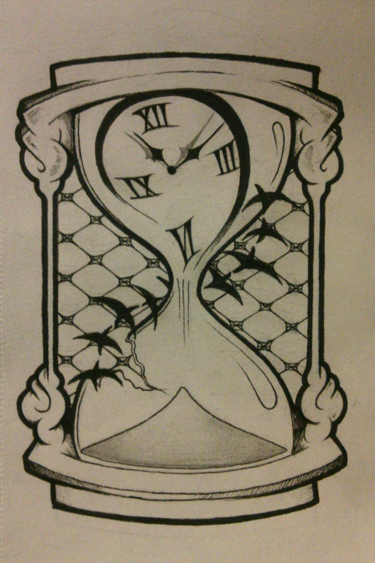 Hourglass tattoo design for Time is money tattoo