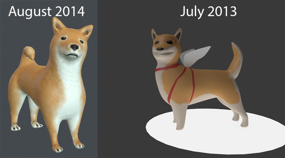 1 year later progress - Shiba Inu by PixelPandaa