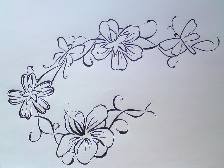 Line Art Flower Tattoo : Blackline flower