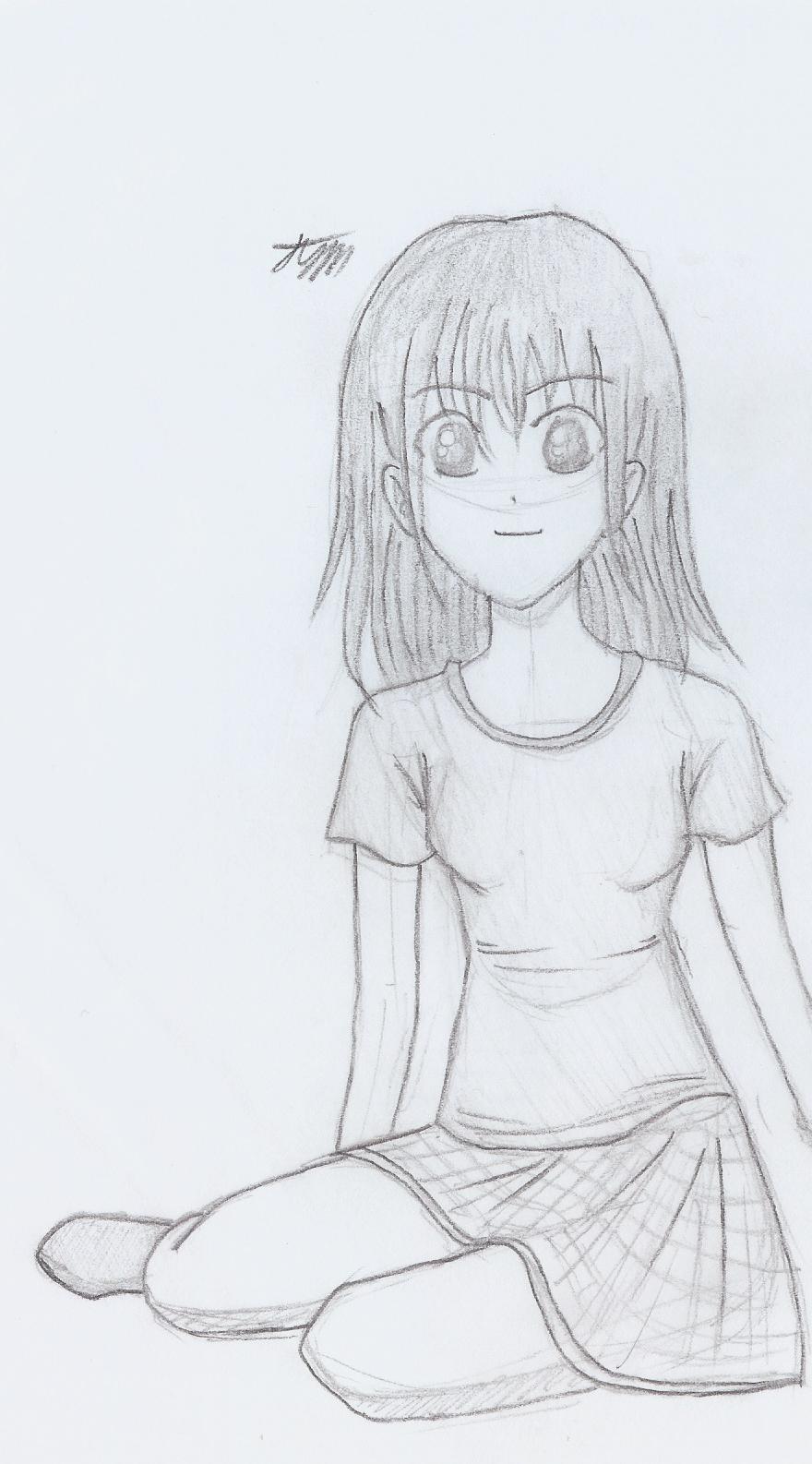 Manga Girl Sitting Down By Cloudrider99 On Deviantart
