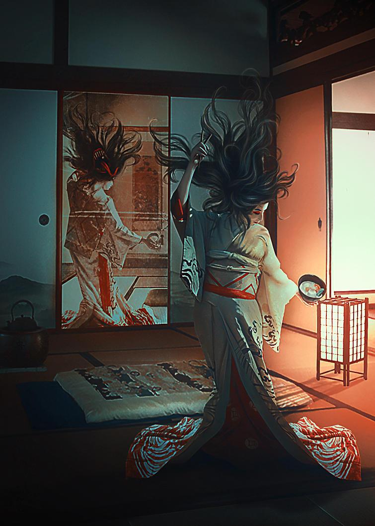 Futakuchi onna by puppet-soul