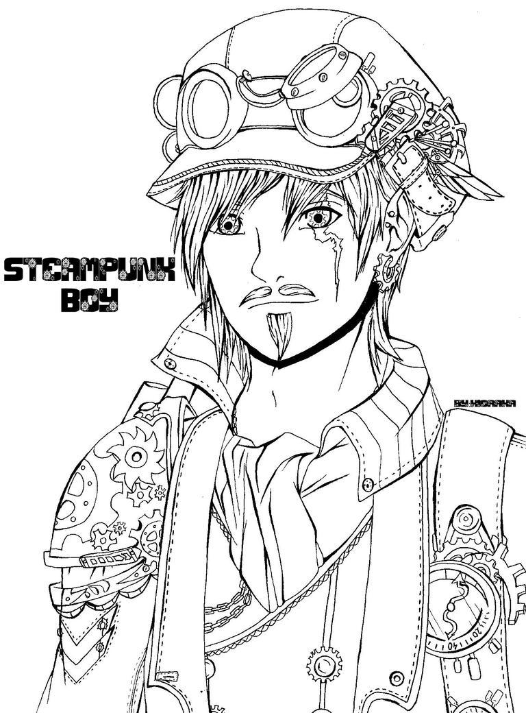 Steampunk boy -Lineart- by KioRaka on DeviantArt