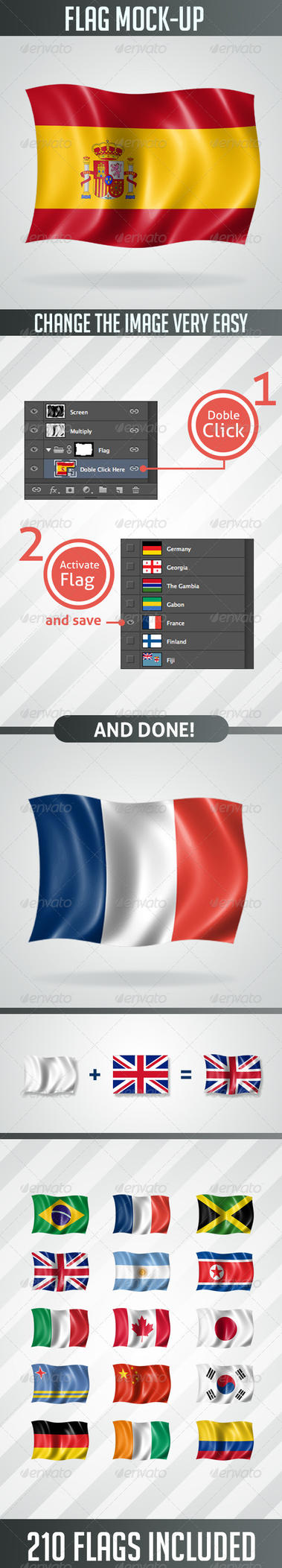 210 Flags MockUp in High Resolution by LuxAeternaDesign