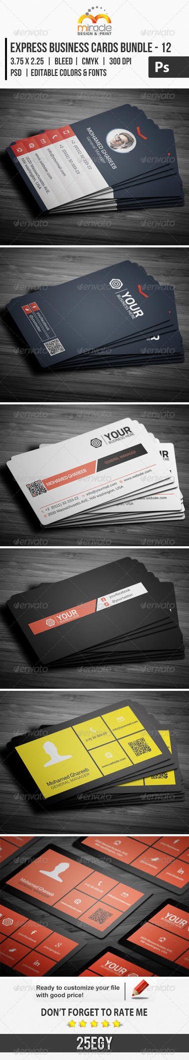 Express Business Cards Bundle 12 by LuxAeternaDesign on