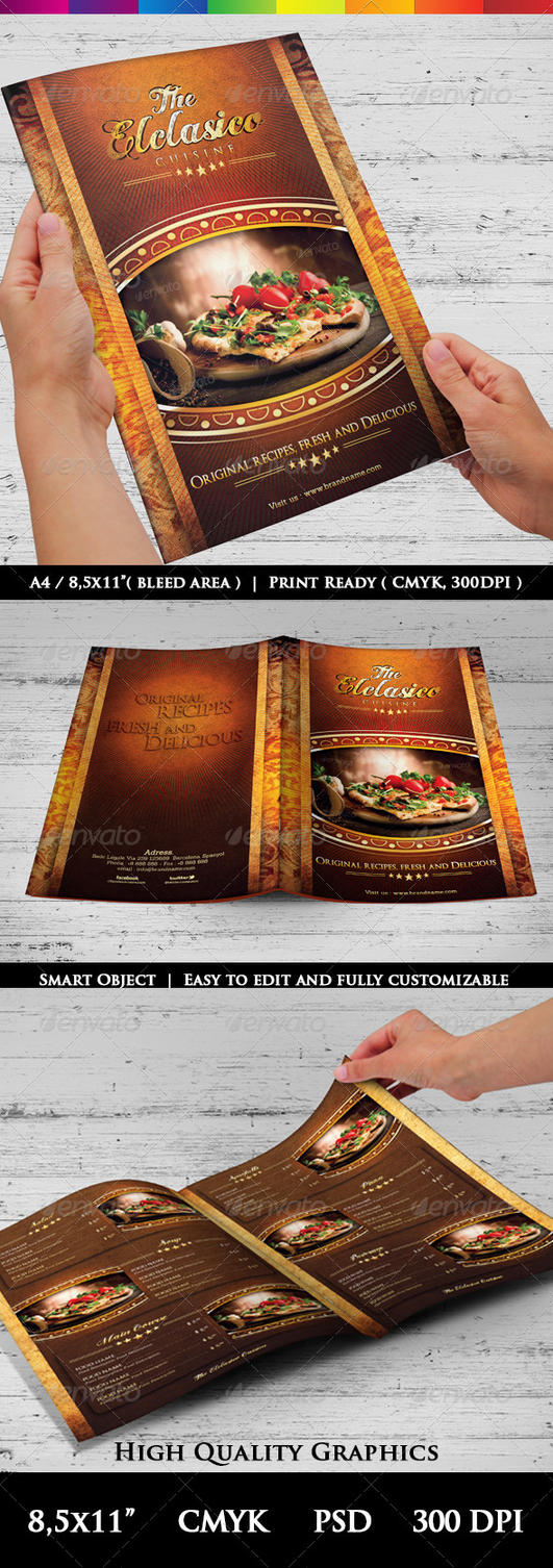 The elclasico cuisine menu templates by luxaeternadesign for Artistic cuisine menu