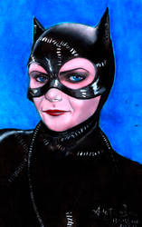 Catwoman Michelle Pfeiffer in acrylic colors. by aleldan