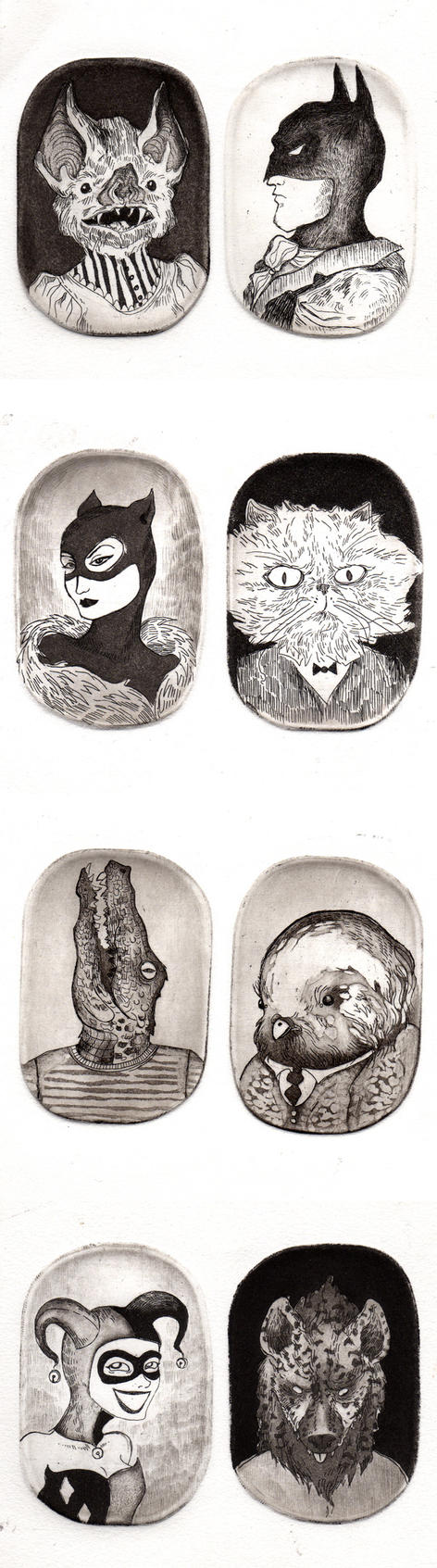 etching little portraits by Brathanaelle