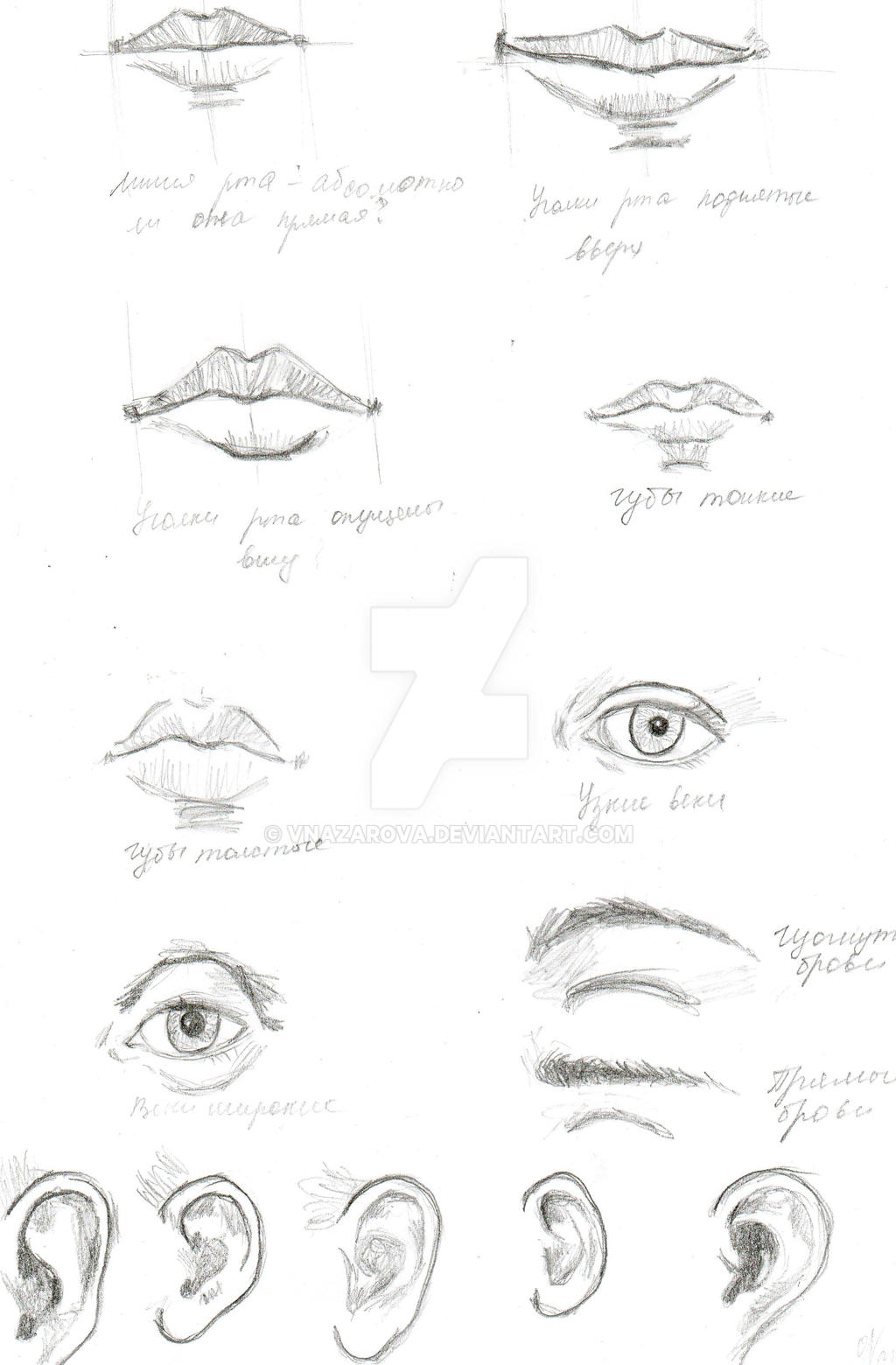 How To Draw Lips, Eyes And Ears By Vnazarova