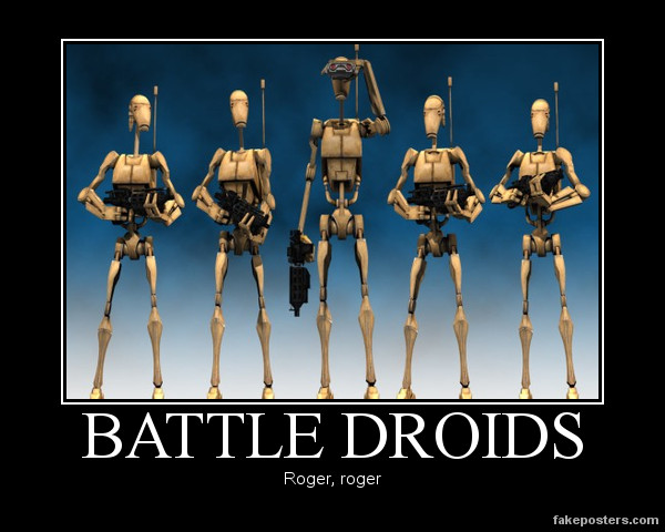 Star Wars The Clone Wars B1 Battle Droid Line-Up by Onikage108