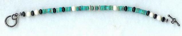 Turquoise, Bone, Onyx Bracelet by shetakaey