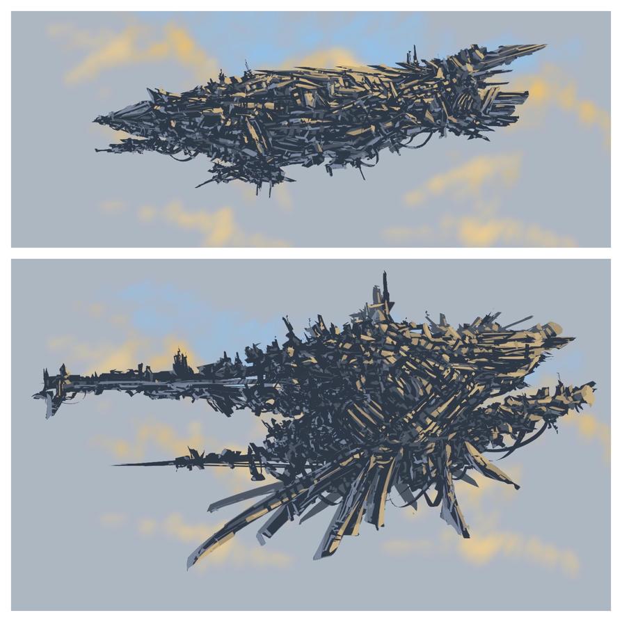 Digital ship designs by Sketchbookuniverse