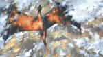 Dragon sky by Sketchbookuniverse