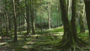 Green forest - Thick paint