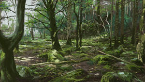 Green forest 3 - Thick Paint