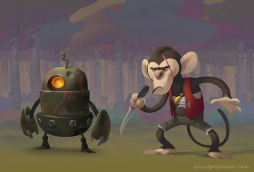 Monkey and robot