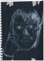 Self Portrait: white on black by ravensatan