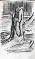 sketch (tree stump on the shore of lake)