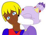Blaze kisses Kierans cheek