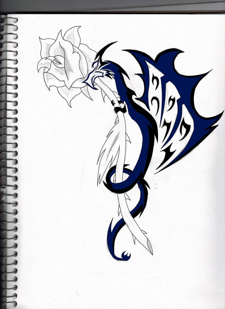 dragon rose tattoo by shadowfox94 on deviantart. Black Bedroom Furniture Sets. Home Design Ideas