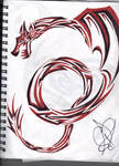Red and Black Tribal Dragon