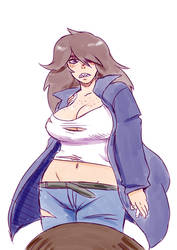 Deltarune - Human Susie (drawn by my brother) by Banebuster