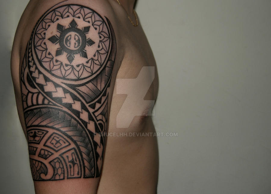 Polynesian Tribal Tattoo Half Sleeve By Brucelhh On Deviantart