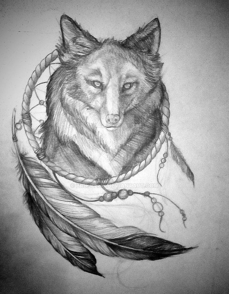 fb15e5bc0cc37 Wolf Dream Catcher Tattoo Design by brucelhh on DeviantArt