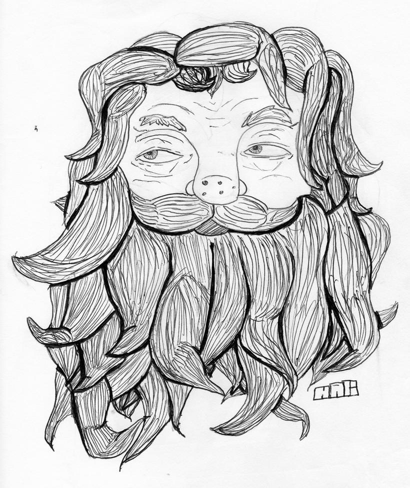 Beard Man Drawing Man With a Beard by